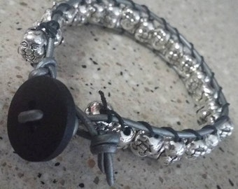 Metal Smiling Buddha Beads and Leather Bracelet