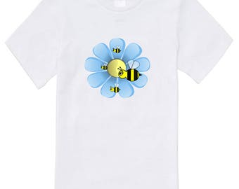 Toddler and Childs T Shirt - Flowers & Bees