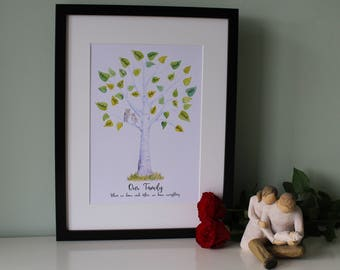 Personalised family tree watercolour signing print