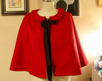 Minnie Capelet in Red with Black & White polka dot lining One Size