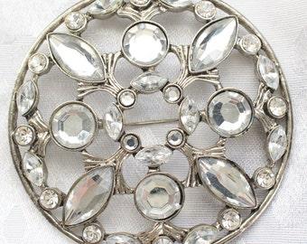 SO # 1301 Massive Vintage Silver Tone and Clear Crystal Rhinestone Brooch