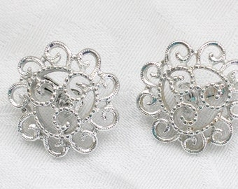 Sarah Coventry Silver Tone Filigree Clip On Earrings Signed BNE # 106