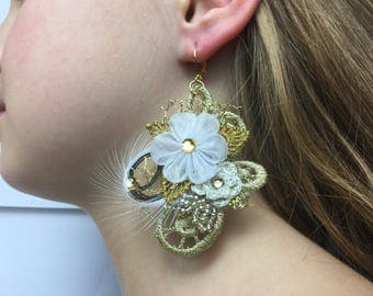 Boho Lace Earrings with hand-folded,Crochet flowers,Feathers and Beaded leaves,Lace Long Earrings in Light Gold and White,Boho Jewelry Gift