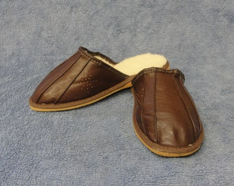 New Mens Natural Brown Leather/ Sheep's Wool Slippers
