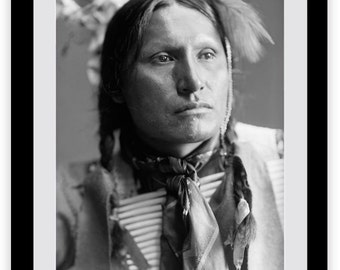 Native American Indian Photograph, Black and White, 1900s, Indigenous American, Chief, Historical Print, History, Portrait, Picture, Tribal