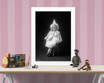 Portrait of Victorian Girl, Black and White Photography, Children's Photograph, For Girls Room, Gift For Her, Wall Decor, Art Print