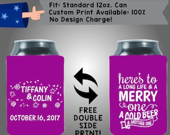 Names Date Here's to a Long Life and a Merry One a Cold Beer and Another One Collapsible Fabric Wedding Cooler Double Side Print (W107)