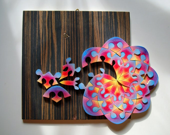 Puzzle Art: Mandala Flower, Sacred Geometry Healing Art & Play, Family Gift, Wooden Handmade, Ready To Hang, Acrylic On Pieces by Samo Svete