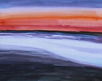 Tidal Dusk.  Original Watercolor.  7x10