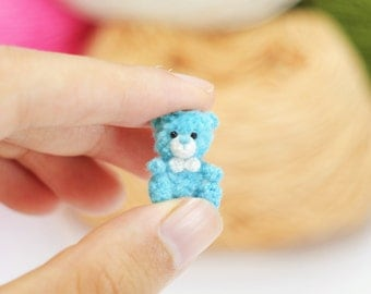 Miniature crochet bear, tiny blue bear, Amigurumi tiny Animals, Dolls House Toys