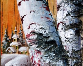 """Unique eco painting """"Birch church"""" gift"""