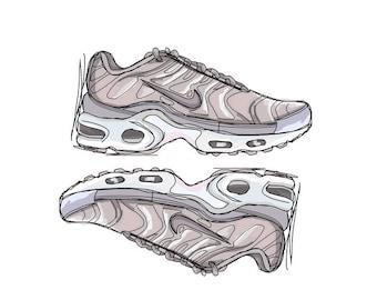 Nike Air Max TN Tuned Satin Pink sneaker art print