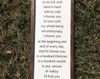 """I'd Choose You Sign, 21.5""""X 10.5''  Farmhouse Sign, Rustic, Wood Sign, Hand Painted Sign, Framed Sign"""