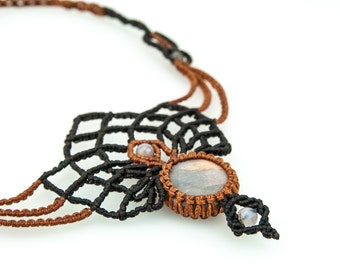 Macrame necklace lotus flower with moon stone