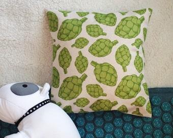 Artichoke pillow. Artichoke pattern organic cotton pillow