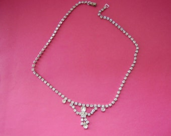 Rhinestone Necklace,Vintage Necklace, Vintage Jewelry, Wedding Jewelry, Bridal Jewelry, Wedding Necklace, Vintage Czech Clear, earrings