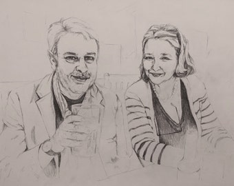 Couple portrait - hand-drawn from your photograph