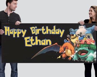 Pokemon Custom Happy Birthday Banner-Digital (2.5'x6')