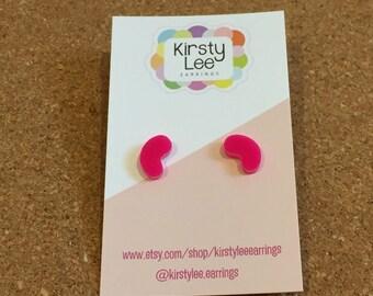 Beanz studs - laser cut acrylic - Kirsty Lee Earrings