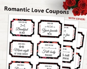 Romantic Love Coupons - Love Coupons For Him Printable Love Coupon Valentines Gift For Him Valentines Boyfriend Gift Valentines Husband Gift