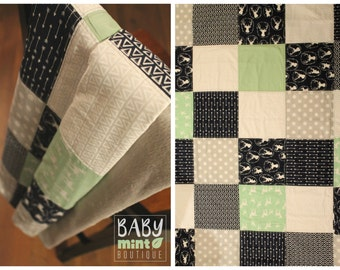 Quilted top blanket, handmade minky blanket, stroller, car seat, woodland animal, boy blanket, baby shower gift, newborn present, handmade