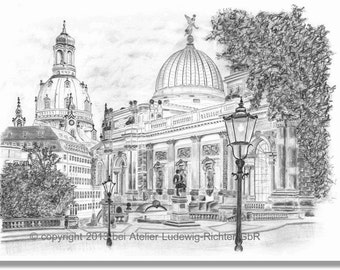 Panoramic view from the Brühl's terrace - original signed art print