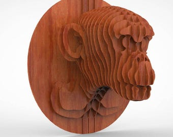 Trophy of a monkey's head 3D puzzle ,CNC ,decoration,decorative ,head ,interior,dxf file ,toy ,trophy ,wall ,wood, vector graphic,laser