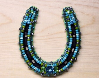 Turquoise and Green Beaded Horseshoe