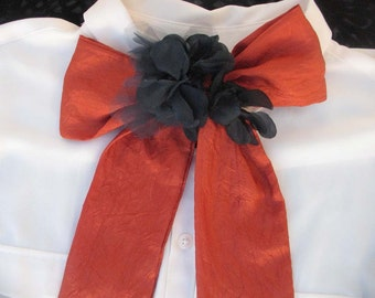 Burnt Orange Tie Bow with Navy Flowers