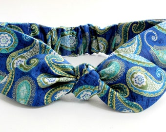 paisley headband, baby,  baby headband, baby headband and bows baby headband bows, blue sea paisley print with metallic gold accents