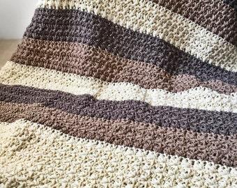 Striped Wool Crochet Chunky Blanket Afghan, Throw - The Gratiot Throw