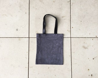 Grey Leather Tote Bag - Small