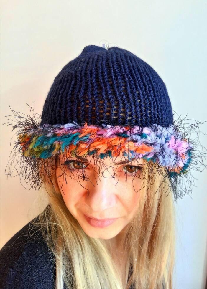 14b12c5750c Navy Blue Knit Hat Fairy Womens Hat Chunky Brim Beanie Hat Artisan Style Hat  Women Beanie