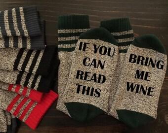 Bring Me Wine Thermal Socks Mom Sister Stocking Vino Relax