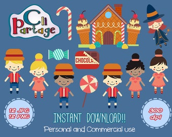 Hansel and Gretel Cliparts, Candy House Cliparts, Instant Download, Clip Art Vectors, Clip Art