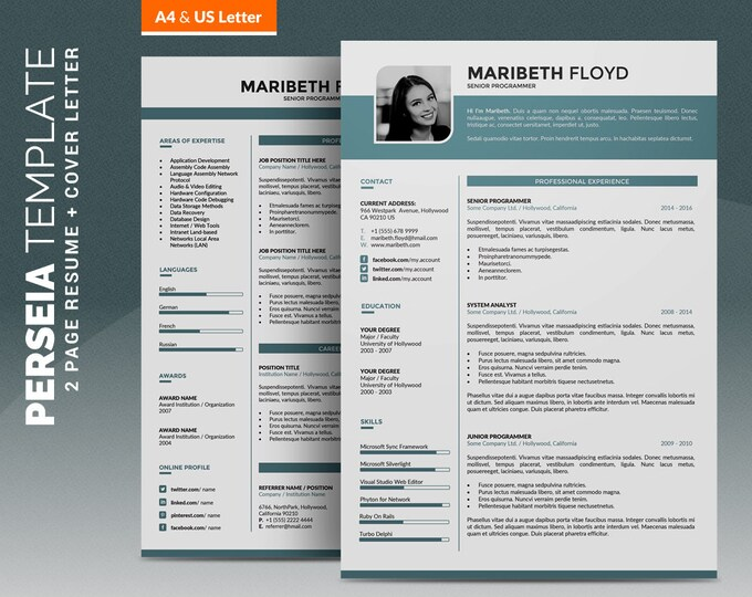 "Professional Resume Template / CV Template, 2 Pages Creative Word CV Design + 1 Pages Cover Letter, Easy-to edit, Instant Download ""Perseia"""