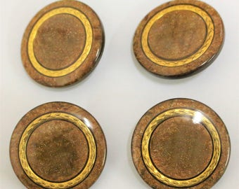 vintage brown marble design gold circle detail centre sewing buttons shank buttons big statement buttons 34mm