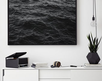 Midnight Ocean Art, Sea Print, Night Ocean Print, Ocean Printable, Waves Print, Dark Ocean Art Print, Black Ocean, Ripples, Black Waves