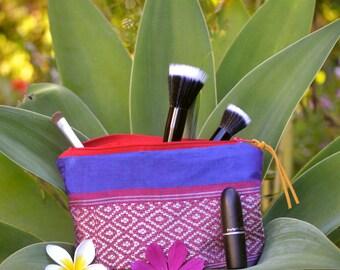 Colourful silk makeup bag, cosmetic bag, pencil case, zipper pouch, red makeup bag, nepalese makeup bag