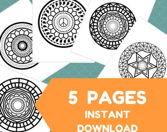 5 Coloring Pages - Mandala Designs - Printable Adult Coloring Book - Instant Download