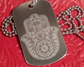 Beautifully Detailed Hamsa on Aluminum Dog Tag with Ball Chain