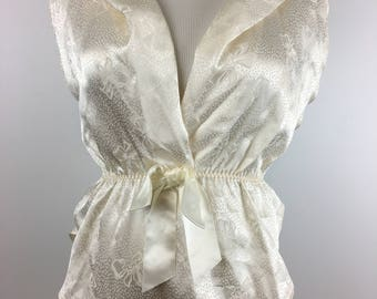 VIntage Lily of France Ivory White Satin Jacquard Teddy Size M | '80s Lingerie Romper