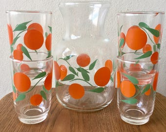 1970s Juice Carafe with 4 Glasses Oranges and Leaves Decanter Pitcher Jug Breakfast Set