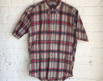 Vintage 60's Hand Woven in India Madras Plaid Button-Up Short Sleeve Shirt Size Medium Made in USA Retro 60s 1960s