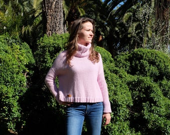 Sweater (sweater, pullover), pink powder, handmade, knitted, one-size