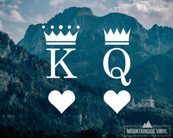 King & Queen Vinyl Decals - Vinyl Sticker, Couple Decals, His and Hers, Heart Decal, Window Decal, Laptop Sticker, Yeti Decal, Tumbler Decal