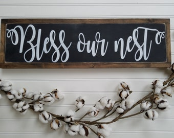 Bless Our Nest Wood Sign, Blessed Sign, Rustic Sign, Bless Our Nest, Blessed
