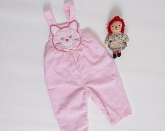 Vintage 80s baby girl overalls | happy cat