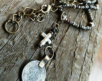 Antique Coin Bead Necklace
