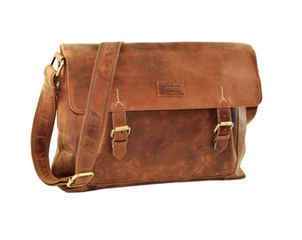 Leather Briefcase, Messenger bag, Messenger bag, business bag teacher, roll-over bag, laptop bag, Briefcase leather, Menzo